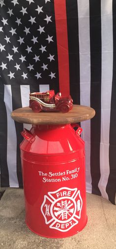 Recapture times gone past with our handcrafted, hand painted firefighter decor metal milk can. This Firefighter Gift has been reproduced with care, cleverly captured and sculpted in detail. Its sure to be a conversation piece in any home or office. Each *NEW* Replica Milk can will come with maltese cross and you add any sentiment line you wish! Leave seller notes during checkout what you want your Firefighter Milk Can to say. Each milk can is powder coated for durability, you may clean them…
