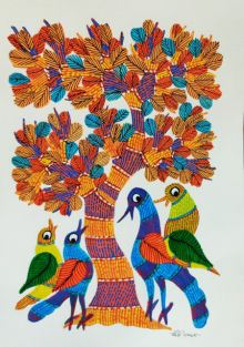 Birds Under The Tree 1 traditional art by Choti Gond Artist | ArtZolo.com