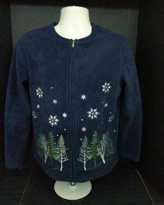 Croft & Barrow zip front Fleece Women's Jacket size S blue winter scene #CroftBarrow #BasicJacket