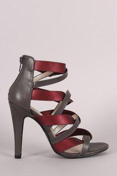Two Tone Twisted Straps Open Toe Heel – Style Lavish