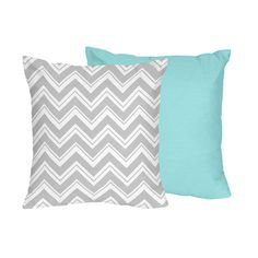 Sweet JoJo Designs Turquoise and Grey Zig Zag Decorative Accent Throw Pillow | Overstock.com