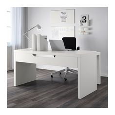 MALM Desk with pull-out panel, white