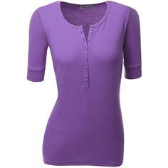 Doublju Women Short Sleeve Henley Neck T-Shirts (235 HNL) found on Polyvore featuring women's fashion, tops, t-shirts, shirts, short sleeve tops, purple top, short sleeve shirts, tee-shirt and purple t shirt