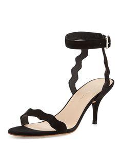 Reina Scalloped Nubuck Sandal, Black, Size: 8B - Loeffler Randall
