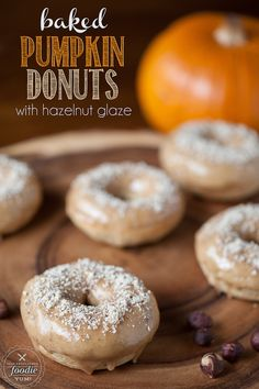 These Baked Pumpkin Donuts with hazelnut glaze are simple to make and are the perfect comfort food Fall treat. {Self Proclaimed Foodie}
