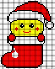 Smiley Christmas stocking perler bead pattern