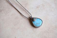 Macrame necklace macrame pendant macrame jewelry Larimar