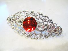 14.95$  Watch now - http://vikhs.justgood.pw/vig/item.php?t=wcxqde4166 - Silver filigree hair clip barrette with ruby red rhinestone bridal hair clip