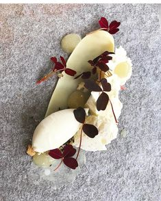 Pear, yogurt ice cream, Jerusalem artichoke bavarois, thyme cream, and vanilla crumble