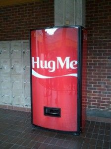 Coke hug me machine in NUS