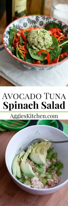 Perfect for a quick and light lunch or dinner, this protein packed Avocado Tuna Spinach Salad will get you back into warm weather clothes comfortably in no time. via @aggieskitchen