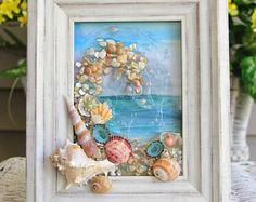 Beach Glass Art for Coastal Decor, Beach Bathroom Decor, Beach Watercolor Painting, Ocean Art for Beach House, Beach House Warming Gift