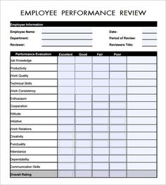 employee review template word google search peached