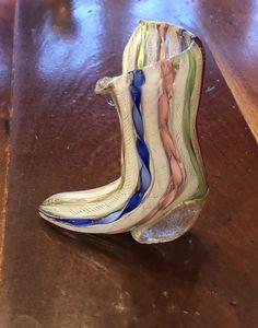 Petite Murano Art Glass Wedge Heel Boot Rainbow Ribbon Stripe Italy Venetian #Murano