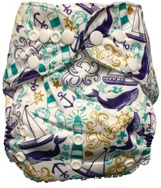Bottoms and Beyond Boutique (BABB) brand diaper. One size, polyurethane laminate pocket with microfiber insert.