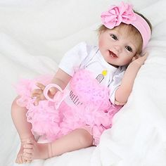 Nicery Reborn Baby Doll Soft Simulation Silicone Vinyl 18inch 45cm Magnetic Mouth Lifelike Toy Boy Girl RD45C046L Eyes Open