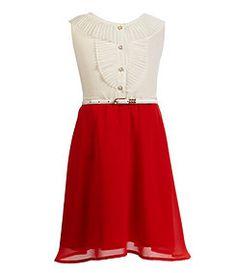 Blush by US Angels 7-16 Pleated-Collar Ruffled-Placket Colorblocked Chiffon Dress
