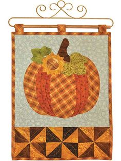 Pumpkin wall hanging with raw edge sunflower