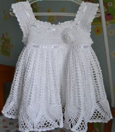 Beautiful pattern with crochet in white dress