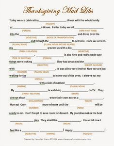 Clever, Crafty, Cookin' Mama: Thanksgiving Day Mad Libs - FREE printable Mad Libs. Awesome group game for all ages.