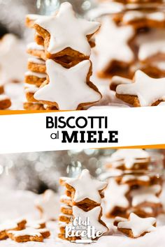 Biscotti al miele - Food - Italian Cookie Recipes, Italian Cookies, Chistmas Cookies, Kenwood Cooking, Iced Biscuits, Winter Treats, Star Cookies, Xmas Food, Delicious Chocolate