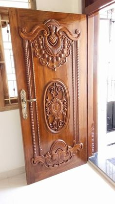 Contact for wood Wooden Front Door Design, Main Entrance Door Design, Door Gate Design, Wooden Front Doors, House Front Design, Wood Design, Pooja Room Door Design, Door Design Interior, Single Main Door Designs