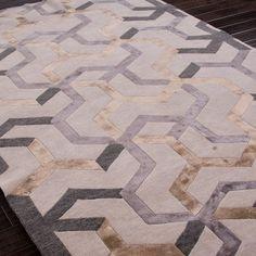 Jaipur J2 Jannu Antique White Hand Knotted Wool Rug @Zinc_Door I see a silk + linen quilt here.....