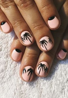 Joli nail-art pour l'été... #TheBeautyHours Simple Nail Designs, Nail Art Designs, Gel Nail Art, Nail Polish, Acrylic Nails, Jolie Nail Art, Palm Tree Nails, Nail Design Spring, Black Nail Art