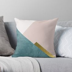 Minimalist Style Throw Pillow in blush pink and teal