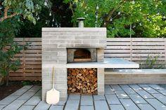 modern pizza oven w/ overhang work/prep/serving area