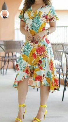 Vestido mais curto na frente e longo atrás – Conheça o vestido mullet Casual Dresses, Short Dresses, Fashion Dresses, Summer Dresses, Summer Clothes, Vetement Fashion, Pinterest Fashion, Dress Patterns, African Fashion