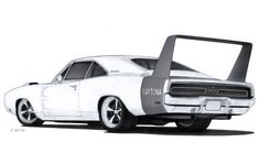 1969 Dodge Charger Daytona Drawing by Vertualissimo