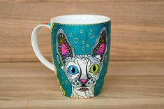 Pottery & Glass Delicious Faux Paw Productions Debby Carman Cat In Window Handpainted Pottery Coffee Mug Discounts Price