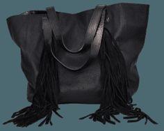 1cbd23379 Cartera de cuero grabado color negro con flecos de gamuza. Pabloni Bags