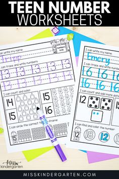 These teen number worksheets are just one of FIVE fun activities discussed in this blog post that discusses how to teach teen numbers in kindergarten. You can find the ideas and the teen number worksheets here! #teennumbers #kindergarten #teennumberworksheets Miss Kindergarten, Kindergarten Math Activities, Fun Activities, Teen Numbers, Number Worksheets, Home Learning, Number Sense, Student, Teaching