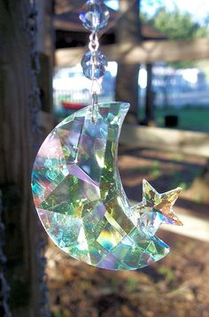 Moon and Star Crystal Suncatcher Iridescent by sheriscrystals