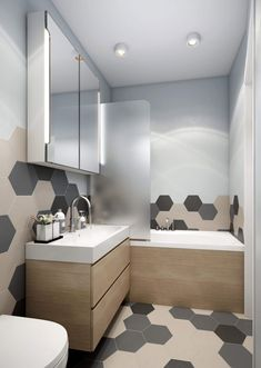 Multi-coloured hexagonal tiles - one of our favourite new bathroom trends. Bathroom Mat Sets, Small Bathroom, Bathroom Styling, Bathroom Interior Design, Bathroom Trends, Beautiful Bathrooms, Bathroom Inspiration, Interiores Design, House Design
