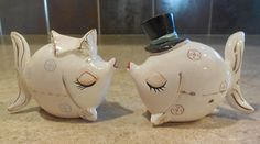 Wedding kissing fish vintage salt pepper shakers by KANDYLEES