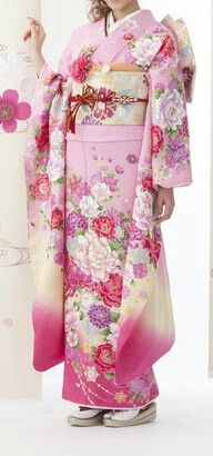 pink kimono with flower patterns