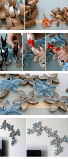 Recycle your cardboard toilet paper rolls into wall art.