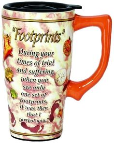SPOONTIQUES FOOTPRINTS Spiritual TRAVEL MUG with Lid Coffee Cup 11798 #Spoontiques