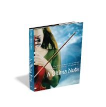 Desenvolvi a arte deste romance, - A última nota - que é sobre uma famosa violinista que vai atras de sua história, descobrir o mistério que a envolve. Fiz uma montagem, com a violinista em primeiro plano, e as nuvens, como algo que a envolve, mais ao mesmo tempo é misterioso. Escolhi uma fonte mais simples, para compor o layout.