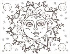 hippie coloring book luna and soleil mandala by dawncollinsart - Psychedelic Hippie Coloring Pages