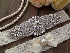 Etsy listing at https://www.etsy.com/listing/180402092/personalized-wedding-garter-pearl