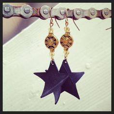 Recycled Bicycle bike Tube Star Earrings with by maybirdjewelry, $14.00