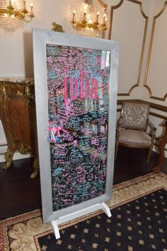 A great over-sized mirror Bat Mitzvah sign-in board. | MitzvahMarket.com