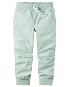 Baby Girl Jersey-Lined Poplin Joggers from Carters.com. Shop clothing & accessories from a trusted name in kids, toddlers, and baby clothes.