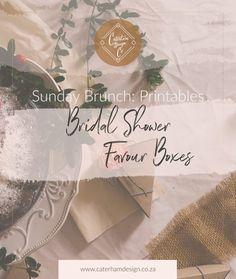 Sunday-brunch-bridal-shower-favour-boxes-printables-blog-post-caterham-design-co Bridal Shower Favors, Favor Boxes, Free Printables, Blog, Brunch, Poster, Stationery, Calligraphy, Floral