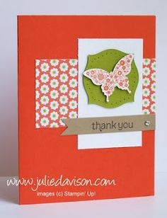 Julie's Stamping Spot -- Stampin' Up! Project Ideas Posted Daily: Papillion Potpourri Thank You Card - Take 2 & 3