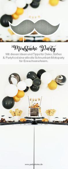 Ein Motto für Erwachsene und den Mann zu finden ist nicht so einfach: Mit diesen Ideen kannst Du eine stilvolle Motto Party im Moustache-/Schnurrbart Stil feiern. Perfekt für den Mann, z.B. zum Geburtstag, dem Jungesellenabschied oder eine Babyparty (für Jungs). Viele Tipps für Partydeko, DIY Deko, Sweettable, Partyfood und Drinks inklusive auf www.partystories.de // #Geburtstag #Mottoparty #Mann #Moustache #Moustacheparty #diyparty #partydeko #Männnergeburtstag #fürihn #Luftballongirlande Party Hacks, Diy Party, Party Mottos, Family Events, Bat Signal, Superhero Logos, Poster, Pretty Cards, Mustache
